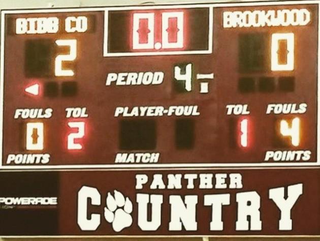 Bibb County-Brookwood scoreboard